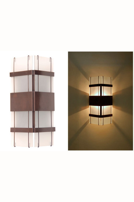 Floating Glass Sconce with frosted glass with dark antique copper.