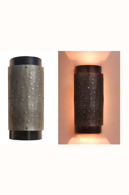 Day view/ night view of Double Cylinder Wall Sconce which has two bulbs, one facing upwards, another downwards.  Good for soft lighting, not general lighting as most of the light goes up and downwards.