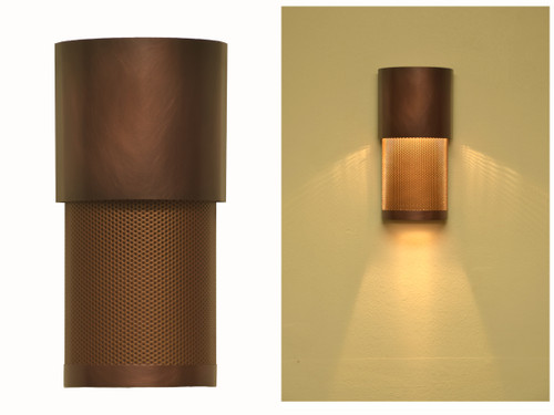 Dark Sky sconce shown in daylight and evening views.  Also available with light going out the top.  Choose your style in the options.