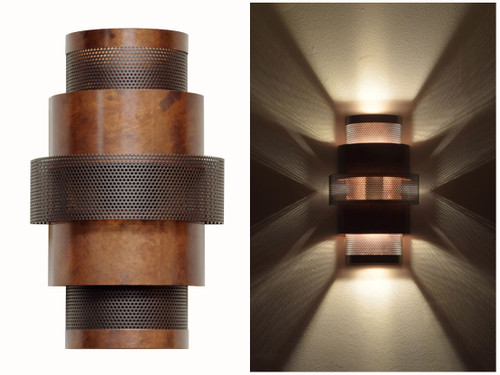 Day and night view of Lightcrafter's Five Tiered Ziggurat wall sconce.