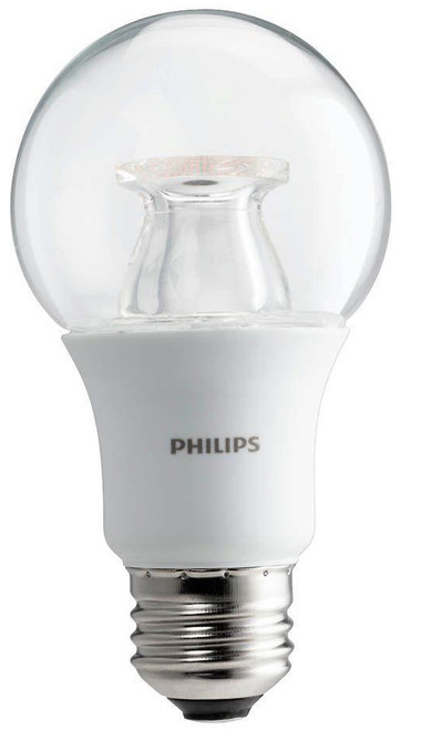 Philips A19 LED omnidirectional light bulb. 75 watt equivalent using only 10 watts.  800 lumens.  Dimmable. 2700K warm white color. 25,000 hour life.  Free shipping.  The style we ship may vary... we will send you the most appropriate LED bulb for your particular wall light, pendant or lantern.