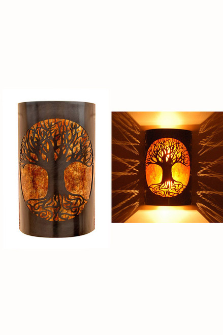 Day and night view of dark antique copper and amber mica Tree of Life wall sconce.