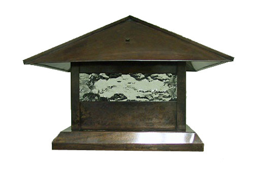 Pitched Roof Post Lantern Light - Antique copper finish with water glass