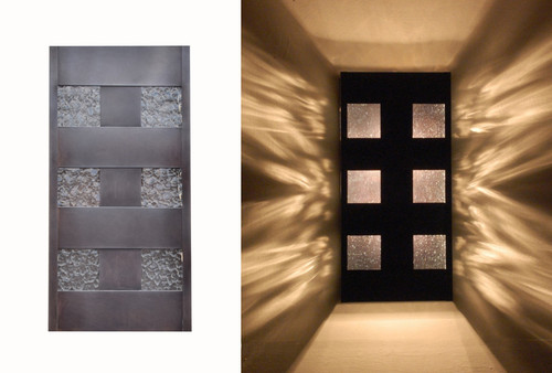 Window Box copper wall sconce.  Handcrafted in Austin, TX USA by skilled craftsmen.