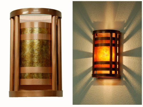Column Wall Sconce. Light antique copper finish with amber mica.  Small size.