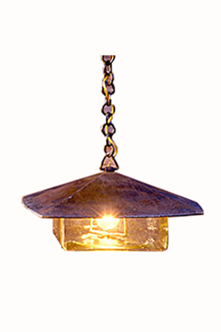 """Coe Studios HL hanging lantern.  The roof on the GL measures 8"""" x 8"""", EN model measures 12"""" x 12"""" and on the ES is 18"""" x 18""""."""