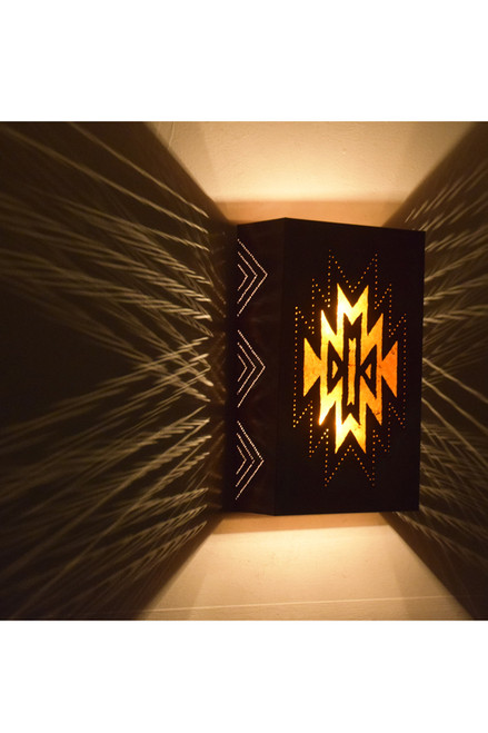 Zuni Copper and Mica Wall Sconce - Lighted Side View