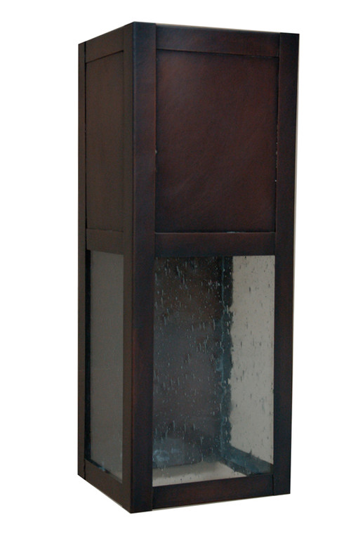 Architectural wall sconce featuring dark antique copper and seeded glass.