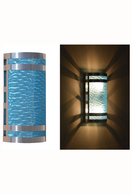 Stainless steel wall sconce with aqua moire pattern diffuser
