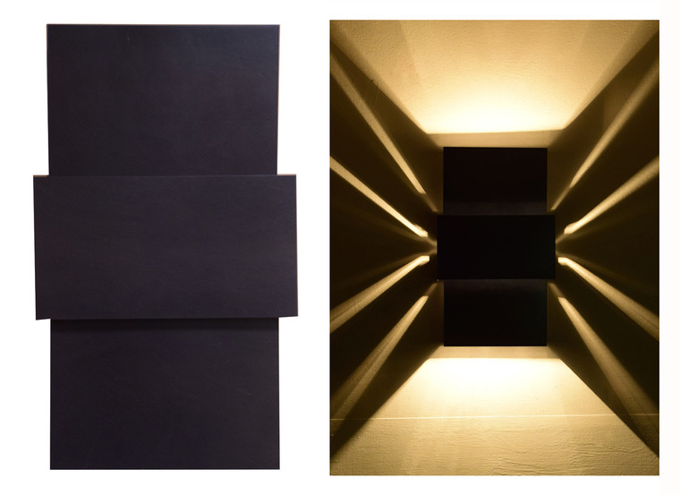 Day and night views of this unique wall light.   The lighting effect is accomplished by using clear incandescent bulbs or clear LED bulbs.  Both are available thru us or at your local home improvement store such as Lowe's or Home Depot.