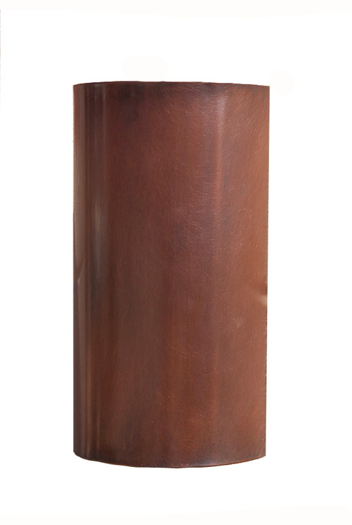 Antique copper 1/2 cylinder wall light providing both up and down lighting.  For interior lighting as well as exterior illumination.
