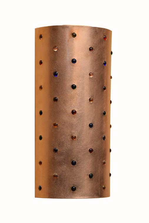 """Raw or burnished copper wall light with assorted colored marbles.  This tall narrow sconce measures 8.5"""" wide by 17"""" tall.  Custom designs are welcome.  You may choose your own assortment of marble colors and metal finish."""