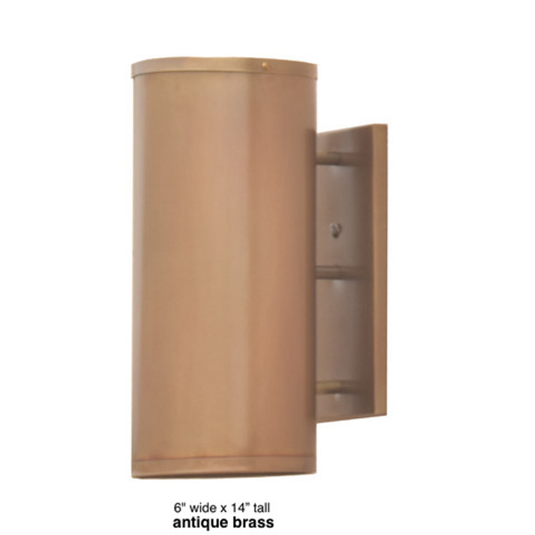 """Full Cylinder wall sconce shown in light antique brass 6"""" wide, 14"""" tall"""