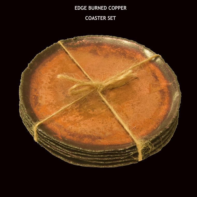 Set of six edge burned copper coasters