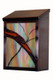 Art Glass Mailbox side view - Vertical - dark antique copper finish with amber iridized glass