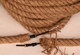 """18/2 electrical cord covered with 1"""" diameter jute rope.  Shipped with two sets of grippers and rope strands to tie off ends."""