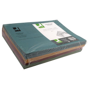 Carpetas cuadradas cortadas de Q-Connect Medium Weight 250gsm Foolscap (paquete 100) KF01492