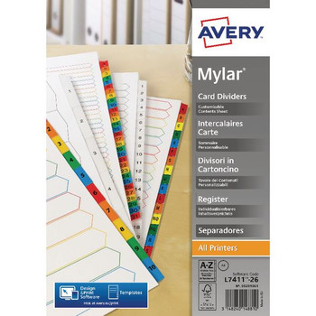 Avery Mylar Alpha A4 Divider Bright White AZ 26-Part 05231061