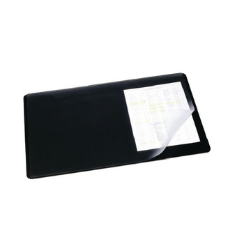 Durable Black Desk Mat With Transparent Overlay 520x650mm 7203/01