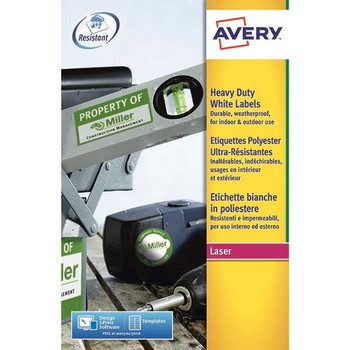 Avery White Heavy Duty Laser Labels 209mm x 294mm (Pack of 20) L4775-20