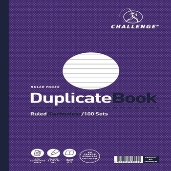 Challenge Duplicate Book Ruled Carbonless 100 juegos 297 x 195 mm (paquete de 3) 100080527