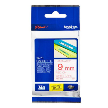 Brother P-Touch 9mm rojo sobre blanco TZE222 Labeling Tape