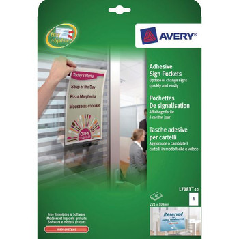 Avery Transparent Adhesive Sign Pockets A4 (Pack of 10) L7083-10