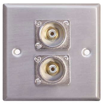 Placa de pared de plata AV con 2 x enchufes Phono F267XM