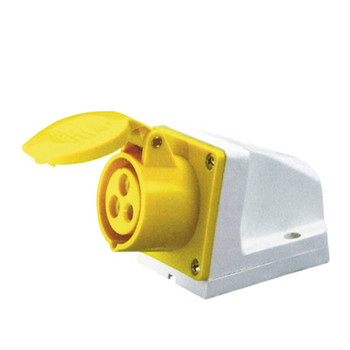 110 V Yellow 16 A 3 Contact High Current Angled Outlet Wall Mount Eag