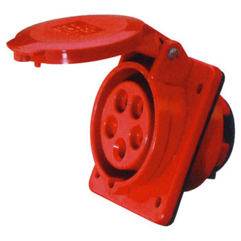 400 V Red 32 A 5 Contacto Alta corriente Angled Outlet Panel Mount Eagle