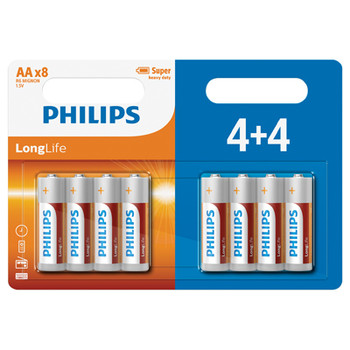 Baterías de cloruro de zinc LongLife de Philips - 4 Value Pack [PH059]