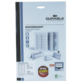 Durable Badgemaker 200 Inserts 54x90mm (Pack of 200) 1455/02