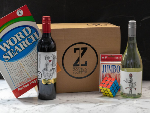 Family Sanity Pack - Delicious wine for you. Jumbo playing cards, a rubiks cube and word search book for entertaining the mini underage housemates