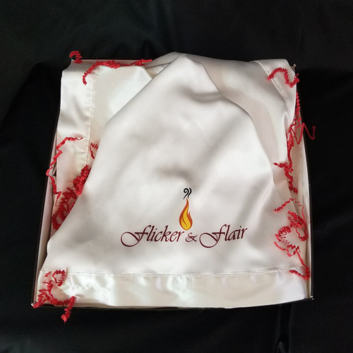 Flicker & Flair White Satin Kimono Robe