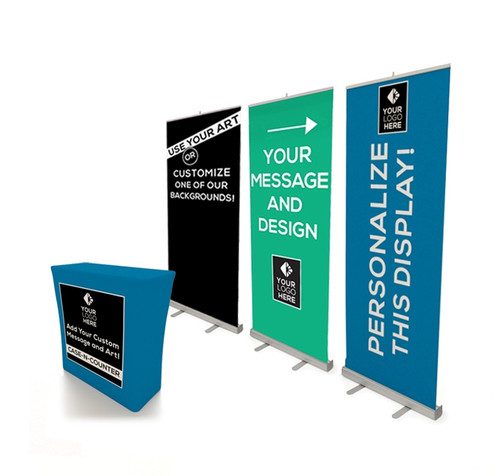 Case-N-Counter with Three Economy Banner Stands