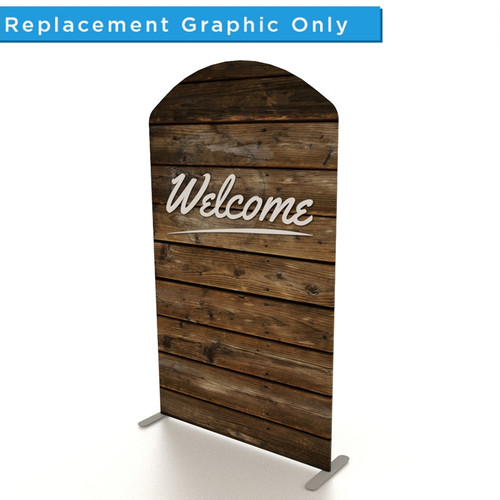 """XL Double-Sided Fabric Banner: 5' Arch Top - """"Welcome"""" - Wood"""