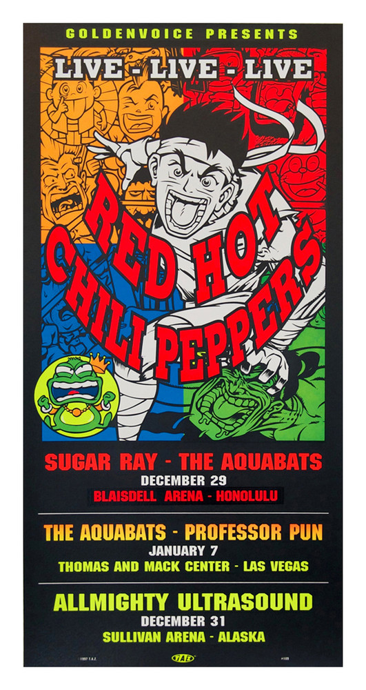 """RED HOT CHILLI PEPPERS – HONOLULU by Jim """"TAZ"""" Evans 1998"""