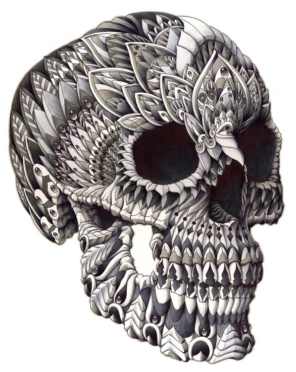 Ornate Skull (drawing) by BIOWORKZ