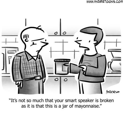 technology cartoon cartoons andertoons smart speaker