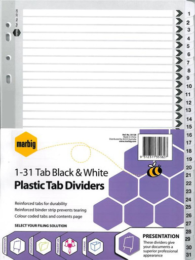 A4 BLACK & WHITE PLASTIC DIVIDERS  1-31 TAB