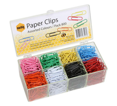 PAPER CLIPS BRIGHT ASSORTED  PK800