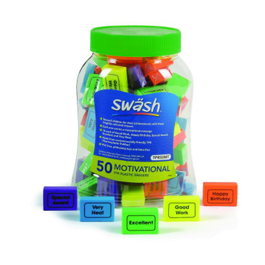 MOTIVATIONAL ERASERS WITH MESSAGES  TUB 50