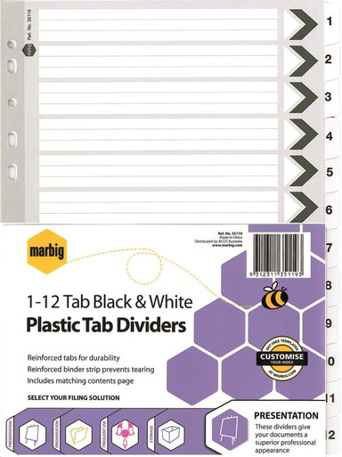 A4 BLACK & WHITE PLASTIC DIVIDERS  1-12 TAB