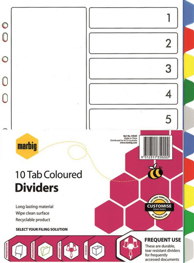 10 TAB COLOUR PVC DIVIDER