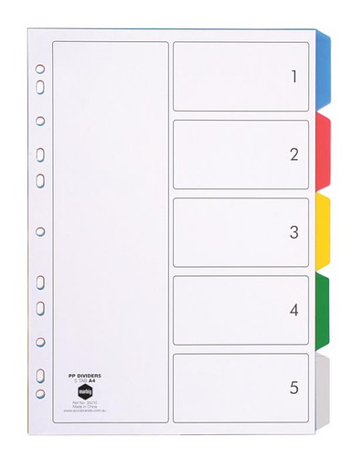 5 TAB COLOURED PVC DIVIDER