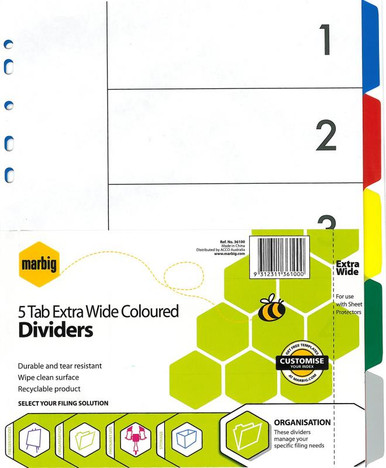 5 TAB COLOUR EXTRA-WIDE PVC DIVIDER