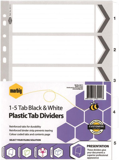 A4 BLACK & WHITE PLASTIC DIVIDERS  1-5 TAB
