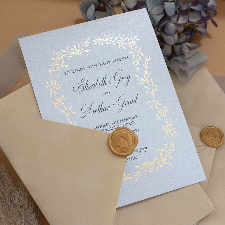 Celeste Sky Blue & Gold wedding invitations US