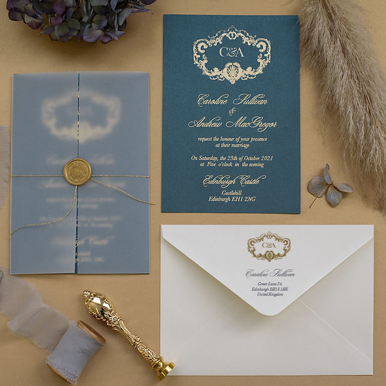 Venice Vellum Teal & Gold wedding invites