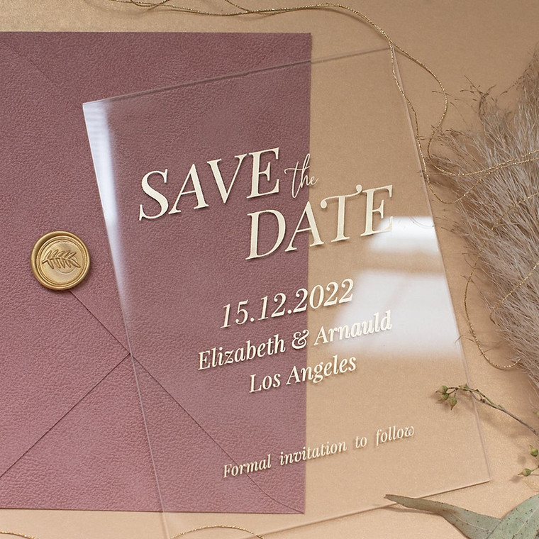 Leather & Glass Tea Rose & Clear Glass Save the Date